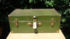 Green metal trunk footlocker