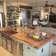Kitchen island decor: vintage farmhouse kitchen island inspirations 22 in. Kitchen Island With Sink, Farmhouse Kitchen Island, Kitchen Island Decor, Rustic Kitchen Design, Farmhouse Kitchen Cabinets, Modern Farmhouse Kitchens, Kitchen Styling, New Kitchen, Home Kitchens