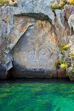Great shot of the Maori Carvings on Lake Taupo... come on our tour and you can Kayak right up to them!