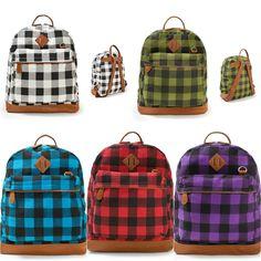 MENS WOMENS Colorful Check Plaid Patterns BACKPACKS SCHOOL BAG BOOK Bag Satchel -US $17.76