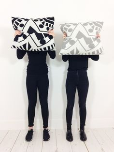 'Mix Tile' Knitted Merino Cushions by Catherine MacGruer Monochrome Bedroom, Cushion Pads, Color Combinations, Merino Wool, Black Jeans, Cushions, Textiles, Grey, Boots
