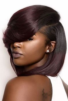 Burgundy Hair Color Ideas: Best Hairstyles for Maroon Hair (May My Hairstyle, Pretty Hairstyles, Hairstyle Ideas, Cute Short Natural Hairstyles, Short Weave Hairstyles, Makeup Hairstyle, Hair Makeup, Which Hair Colour, Short Hair Styles