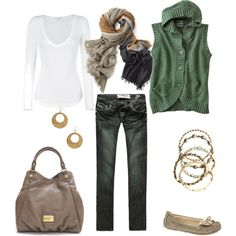 OOO! Green button up cotton hoodie, white tee, skinny jeans, neutral accessories. i like!