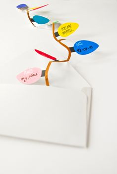 Free printable - festive garland light strand invitation and card