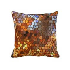 Peeerfect colors for the living room sofa  Autumn Mosaic Abstract Throw Pillow