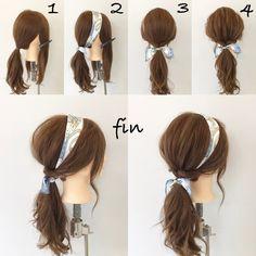 簡単スカーフポニー 1、サイドの髪の毛を残してポニーテールをつくります! 2、分けたところにスカーフを巻きつけ軽く結びます! 3、サイドの髪をポニーテールの結び目のところでくるりんぱして、スカーフをしっかり結びます! 4、全体的に崩して完成です(^^)