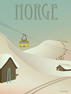 Norway poster with snow. Either cross-country at a reasonable rhythm or full speed downhill alpine style. Buy the poster here Vintage Ski Posters, Beautiful Norway, Tourism Poster, Eco Friendly Paper, City Illustration, Poster On, Vintage Advertisements, Hawaii Beach, Oahu Hawaii