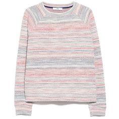 Mango Textured Striped Sweatshirt ($19) ❤ liked on Polyvore featuring tops, hoodies, sweatshirts, sweaters, clothes - tops, clothing - ls tops, raglan sweatshirt, raglan top, mango tops and long length tops
