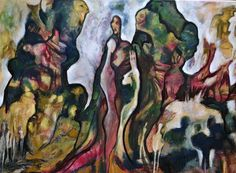"""Serie """" La llegada """" oleo , 1 x 1,20 m"""