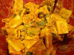Utica Chicken Riggies: A local favorite, it is a creamy, spicy chicken and pasta dish that is sure to please anyone's taste buds. 4 1/2 of 5 Stars 10 Reviews @ food.com.  Note: Uses cremini mushrooms, green pepper, jarred hot peppers, tomato sauce, heavy cream and black olives.