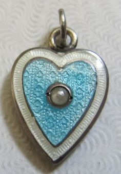 Vtg Antique Victorian English Silver Guilloche Enamel w Pearl Puffy Heart Charm | eBay