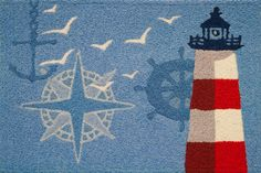 Check out a list of the best Nautical Area Rugs that you can buy for your home on the coast! Nautical area rugs including anchors, compasses, lighthouses, sailboats, ship wheels, and more!