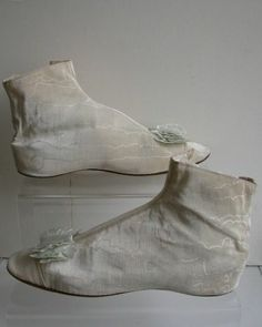 Antique Victorian Cream Silk Moire Taffeta Ankle Boots Shoes 1840's Side Laces | eBay