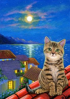 Tabby kitten moon village houses rooftops by Bridget Voth