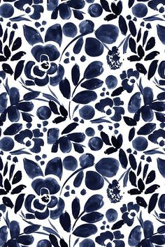 Navy Floral by crystal_walen - Beautiful hand painted watercolor floral pattern in navy on fabric, wallpaper, and gift wrap. Whimsical flowers in china blue on a white background.