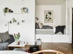 Small space studio with sleeping nook, scandinavian colors, gray and white