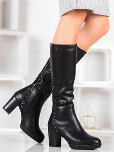 Čierne čižmy na podpätku Knee Boots, Booty, Ankle, Heels, Fashion, Heel, Moda, Swag, Wall Plug