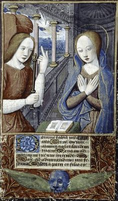 By Jean Bourdichon (1457?-1521?), Miniature of Annunciation, Book of Hours.