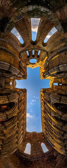 The Cross - San Galano Abbey, Tuscany, Italy - Italia Places Around The World, Oh The Places You'll Go, Places To Travel, Places To Visit, Kingdom Of Heaven, Place Of Worship, Amazing Architecture, Architecture Design, Italy Travel