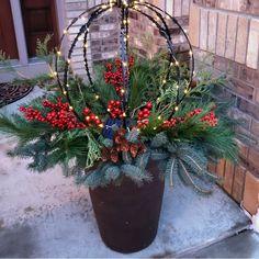 Outdoor Christmas Planters, Christmas Urns, Christmas Garden, Christmas Greenery, Christmas Wreaths, Christmas Crafts, Large Outdoor Christmas Decorations, Fall Planters, Seasonal Decor
