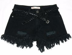 Black Destroyed High Waist Distressed Fringe Shorts by VampireVixen13 on eBay - http://www.ebay.com/usr/vampirevixen13
