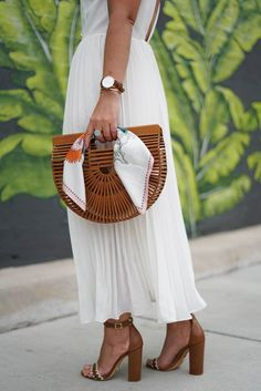 ASOS white pleated dress, Cult Gaia dark stain clutch, a lily love affair, chicago blogger, schutz sandals, Spring style