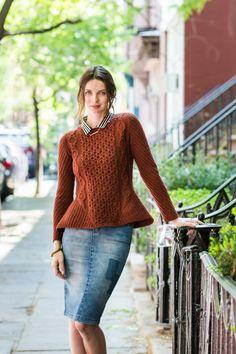 "Nobu cabled pullover with peplum by Olga Buraya-Kefelian. Shown in color ""Wool Socks"". From Brooklyn Tweed's ""Capsule"" Collection."