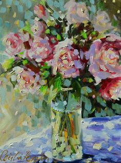 """Daily Paintworks - """"SHABBY CHIC ROSES"""" by Cecilia Rosslee"""