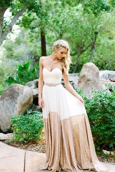 Unique rustic glam wedding dress - strapless sweetheart gold-dipped gown with embellished belt {Suzy Goodrick Photography}