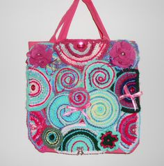 CIRCLES-Pink embellished tote bag with freeform crochet circles on both sides. by CrochetByTeresa on Etsy