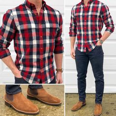 Living in Flannel 🔵🔴🔥 Here's a casual Valentine's Day date night outfit idea. 👌🏼💡 A red bold checked flannel shirt, dark denim, and suede… Stylish Casual Outfits For Men, Men Casual, Casual Styles, Stylish Clothes, Casual Boots, Mode Outfits, Night Outfits, Bootfahren Outfit, Mens Dress Outfits