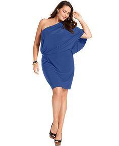 Jessica Simpson Plus Size Dress, Short-Sleeve One-Shoulder Blouson - Plus Size Dresses - Plus Sizes - Macy's