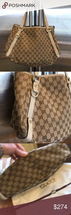 Gucci Monogram Canvas W Cream Lthr Med Tote W Gold Very gently pre-loved by MOI is this classic Monogram Gucci Tote W TONS of life left! Comes with it's GUCCI dustbag. It snaps closed across the top and there's a zipper pocket and a pouch inside. Great bag ALL year long! No major flaws except 1 spot on the back (Pictured!) Otherwise just normal wear, could maybe use a cleaning (Inside is PERFECT Though!) but it never bothered ME, I just have @ 1000 OTHER handbags! 😳🙄👜❤️👍🏻 Gucci Bags…