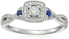 10k White Gold Diamond and Sapphire Ring (1/4cttw, I-J Color, I2-I3 Clarity), Size 7 Amazon Collection http://www.amazon.com/dp/B014FKK9SS/ref=cm_sw_r_pi_dp_9fmywb0D0BESF