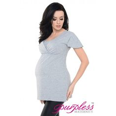 2in1 Maternity and Nursing Short Sleeved Top 7742 Grey 1 Melange - Maintain your pre-bump style throughout your pregnancy with our comfortable and affordable 2 in 1 maternity and nursing top tunic. This short sleeved top tunic with inner fabric in the neckline has been designed by Purpless to give you comfort and style during your pregnancy and whilst breastfeeding.