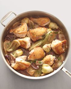 One-pot dinners: Fennel bulb and canned artichoke hearts give this quick braised chicken dish a sophisticated flair. Serve with crusty bread for soaking up the delicious sauce.