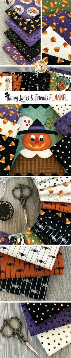 Happy Jack & Friends Flannel is a cute and spooky collection by Bonnie Sullivan for Maywood Studio available at Shabby Fabrics. Halloween Projects, Spooky Halloween, Maywood Studio, Snowman Quilt, Quilting 101, Shabby Fabrics, Cotton Quilting Fabric, Quilt Blocks, Sewing Ideas