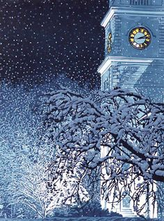 """Illumination"" linocut by William Hays http://www.theartistsloft.com/ Tags: Linocut, Cut, Print, Linoleum, Lino, Carving, Block, Woodcut, Helen Elstone, Winter, Snow, Trees, Branches, Clock Tower, Night."