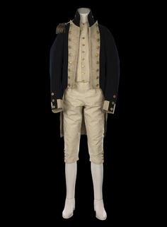 This uniform belonging to Lieutenant William Hicks is the only known surviving example of a Royal Navy lieutenant's uniform from the Napoleonic Era regulation pattern). Royal Navy Uniform, Royal Navy Officer, Navy Uniforms, British Uniforms, Military Uniforms, 18th Century Dress, Military Fashion, Military Style, Military Jacket