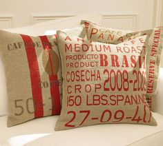 love the burlap! @http://www.sewdangcutecrafts.com/2010/03/tutorial-pb-burlap-cafe-pillows.html