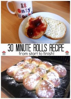 A dozen fresh rolls in half an hour ! Never again will I have to run to the shops for a wee loaf in the middle of planning my day, I'll make 30 Minute Rolls instead.
