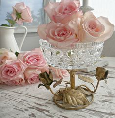 beautiful vintage pink things | Beautiful Vintage Italian Tole Roses Compote Pedestal