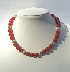 Carnelian and Sterling Silver Necklace by KatieBugCreations4U, $42.00
