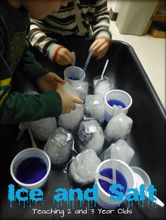Teaching 2 and 3 Year Olds: Ice and Salt in the Sensory Table. Uses pipettes, colored water to explore ice. Also some other activities including ice and water colors.