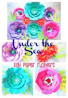 Giant DIY Paper Flowers- Large Backdrop Under the Sea Paper flowers- SVG cutting files- Diy paper flower templates- DIY Party Decor