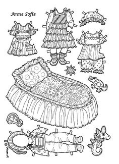 Karen`s Paper Dolls: Anne Sofie 1-2 Paper Doll to Colour. Påklædningsdukke Anne Sofie 1-2 til at farvelægge.