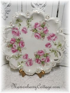 Vintage MZ Austria PINK ROSES large cake plate