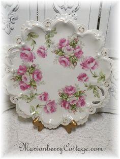 Vintage MZ Austria PINK ROSES large cake plate