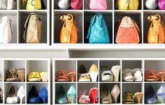 You can fit more pairs on a shelf when you position each shoe this way, and cubbies help keep everything tidy. Recreate this set-up with organizers from The Container Store.