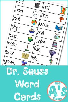 These Dr. Seuss words cards are perfect for your writing center in your preschool or kindergarten classroom during your Dr. Writing Center Kindergarten, Kindergarten Writing, Kindergarten Classroom, Art Center Preschool, Dr Seuss Activities, Preschool Themes, Language Activities, Letter Activities, Science Classroom